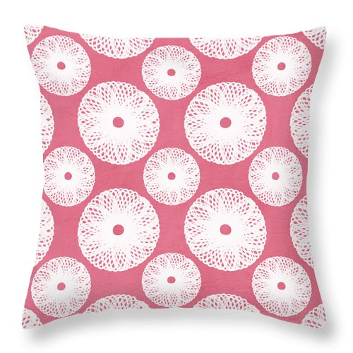 Boho Throw Pillow featuring the mixed media Boho Floral Pattern In Pink And White by Linda Woods
