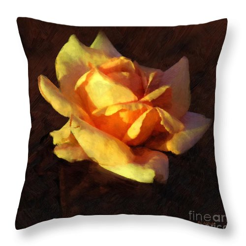 Rose Throw Pillow featuring the painting Bold Glow by RC DeWinter