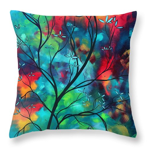 Abstract Throw Pillow featuring the painting Bold Rich Colorful Landscape Painting Original Art Colored Inspiration By Madart by Megan Duncanson