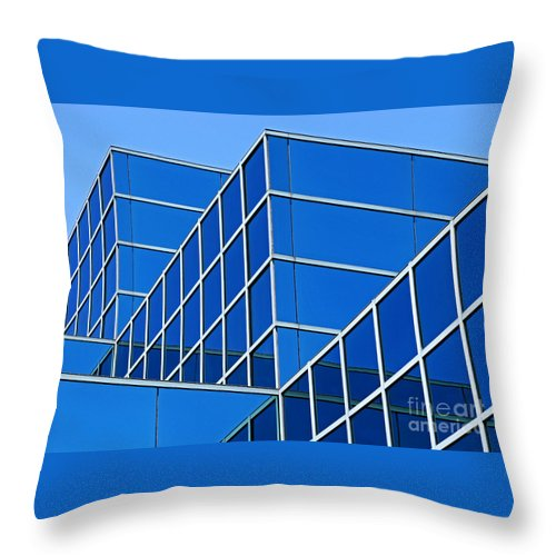 Building Throw Pillow featuring the photograph Boldly Blue by Ann Horn