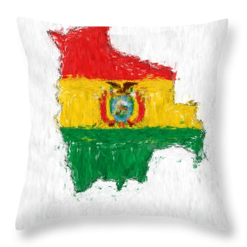 Bolivia Throw Pillow featuring the painting Bolivia Painted Flag Map by Antony McAulay