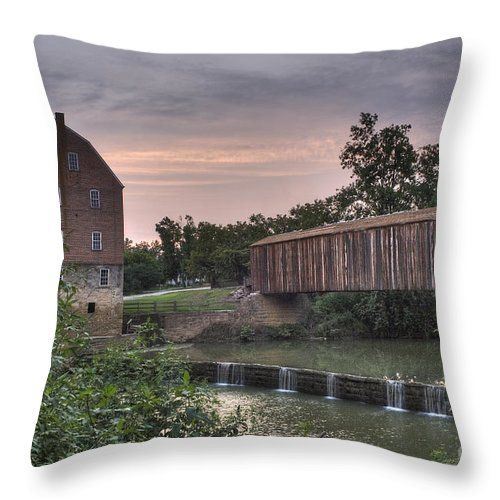 2008 Throw Pillow featuring the photograph Burfordville Mill by Larry Braun