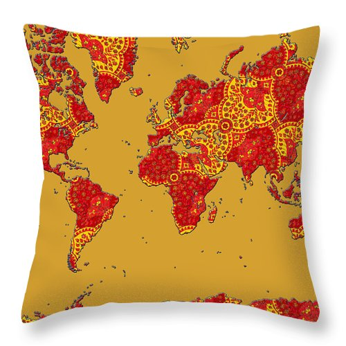 World Map Throw Pillow featuring the photograph Bollywood Colors Awesome Paisley World Map by Scarebaby Design