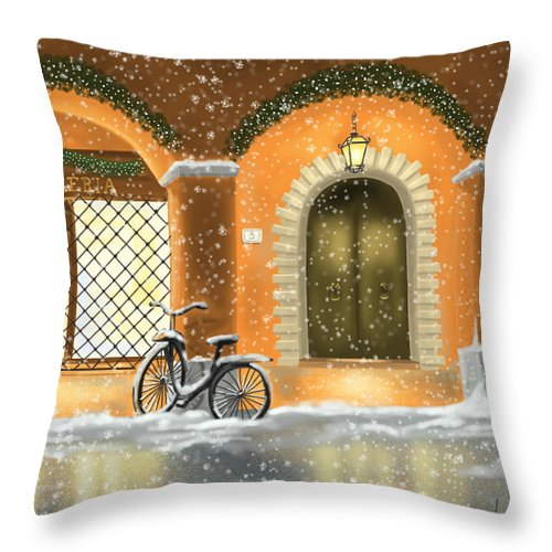 Red Throw Pillow featuring the painting Bologna by Veronica Minozzi
