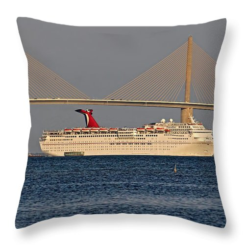 Cruise Ship Throw Pillow featuring the photograph Bon Voyage by HH Photography of Florida