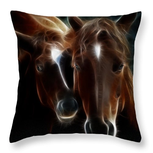 Horses Throw Pillow featuring the photograph Bond Of Mother And Baby by Athena Mckinzie