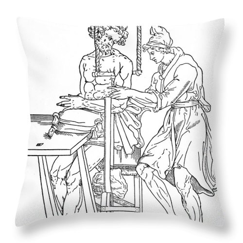 Anatomy Throw Pillow featuring the photograph Bone Fracture Repair by Granger