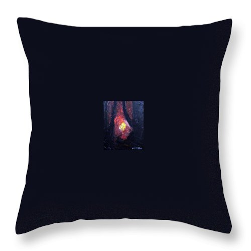 Landscape Throw Pillow featuring the painting Bonefire by Sergey Bezhinets