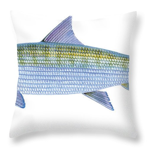 Bonefish Throw Pillow featuring the painting Bonefish by Carey Chen