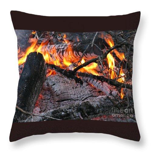 Bonfire Throw Pillow featuring the photograph Bonfire by Ann Horn