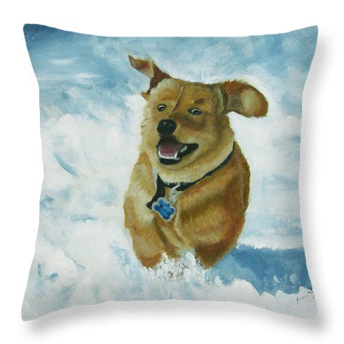 Puppy Throw Pillow featuring the painting Bongo In The Snow by Frankie Picasso