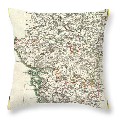 A Beautiful Example Of Rigobert Bonne's Decorative Map Of The French Winemaking Regions Of Poitou Throw Pillow featuring the photograph Bonne Map Of Poitou Touraine And Anjou France by Paul Fearn