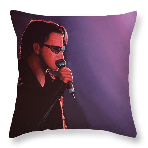 U2 Throw Pillow featuring the painting Bono U2 by Paul Meijering