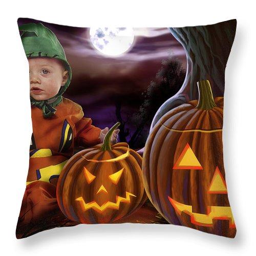 Baby Throw Pillow featuring the digital art Boo Baby Pumpkins by Peter Awax