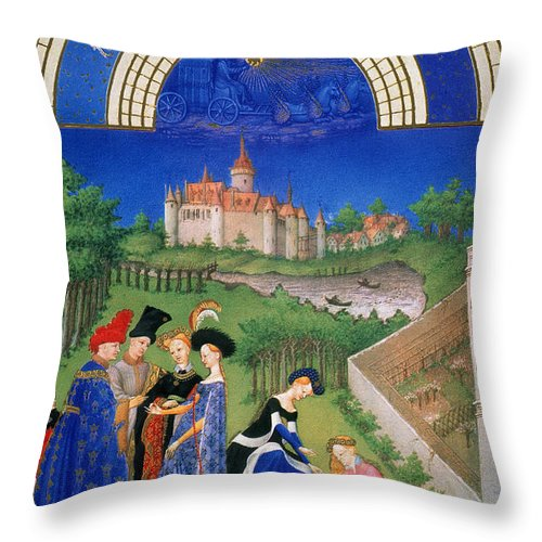 15th Century Throw Pillow featuring the photograph Book Of Hours: April by Granger