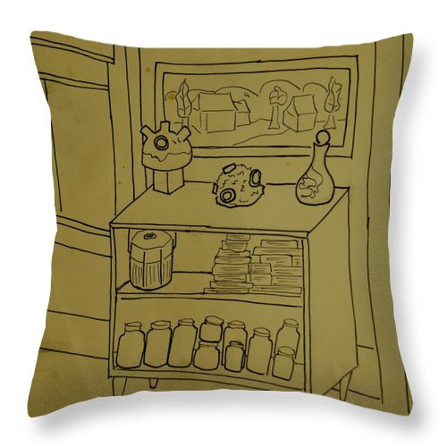 Bookcase Throw Pillow featuring the drawing Bookcase by Erika Chamberlin