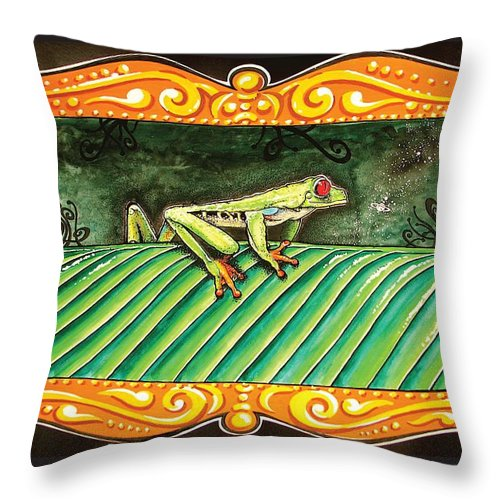 Costarica Throw Pillow featuring the mixed media Puravida Frog by MarceloSouza TattoosnGraphx