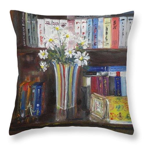 Bookshelf Throw Pillow featuring the painting Bookworm Bookshelf Still Life by Anna Ruzsan