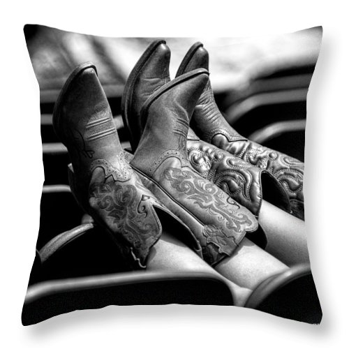 Christopher Holmes Photography Throw Pillow featuring the photograph Boots Up - Bw by Christopher Holmes
