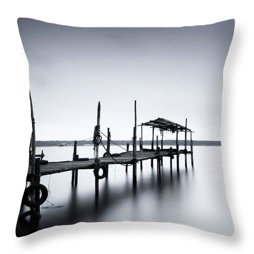 Tranquility Throw Pillow featuring the photograph Bootssteg Im Alten Hafen Klein Zicker by Spreephoto.de