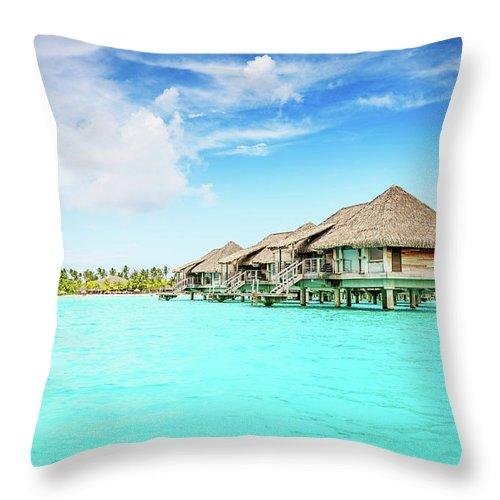 Beach Hut Throw Pillow featuring the photograph Bora-bora Luxury Dream Holiday by Mlenny