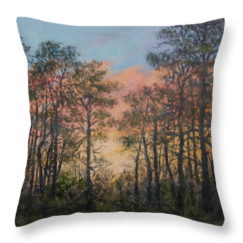 Skyscape Throw Pillow featuring the painting Border Pines by Kathleen McDermott