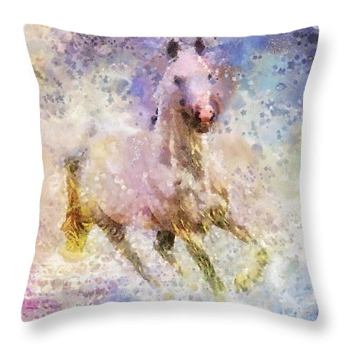 Born To Be Wild Throw Pillow featuring the painting Born To Be Wild by Mo T