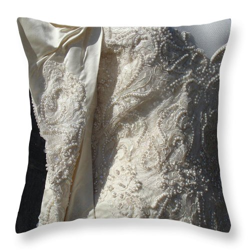 Wedding Dresses Throw Pillow featuring the photograph Borrowed Dreams by Ira Shander