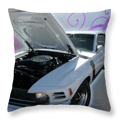 Mustang Throw Pillow featuring the photograph Boss 302 Mustang by Regina Williams