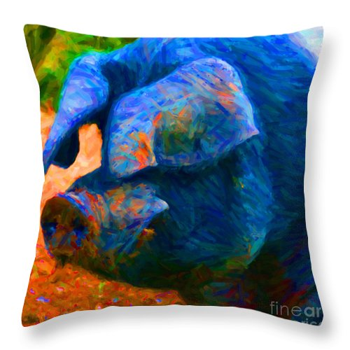 Animal Throw Pillow featuring the photograph Boss Hog - 2013-0108 - square by Wingsdomain Art and Photography