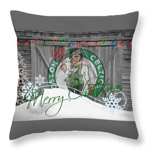Celtics Throw Pillow featuring the photograph Boston Celtics by Joe Hamilton