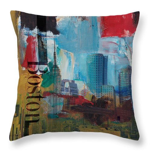 Boston City Throw Pillow featuring the painting Boston City Collage 3 by Corporate Art Task Force