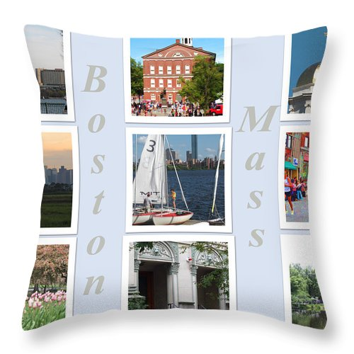 Boston Throw Pillow featuring the photograph Boston Collage by Barbara McDevitt