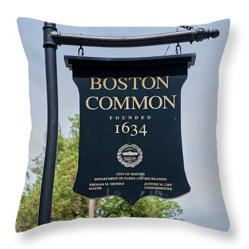 Photography Throw Pillow featuring the photograph Boston Common Park Sign, Boston, Ma by Panoramic Images