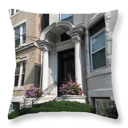 Architecture Throw Pillow featuring the photograph Boston Doorway by Barbara McDevitt