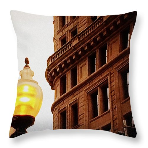 Boston Throw Pillow featuring the photograph Boston Gas Light by Paul Wilford