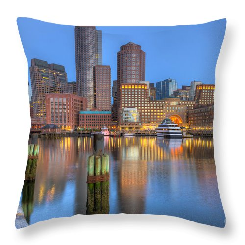 Clarence Holmes Throw Pillow featuring the photograph Boston Harbor And Skyline Morning Twilight IIi by Clarence Holmes