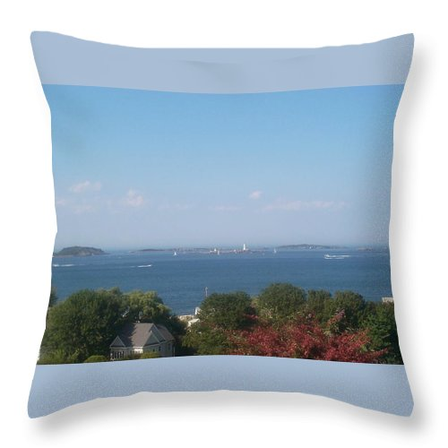 Boston Throw Pillow featuring the photograph Boston Harbor From Hull by Barbara McDevitt