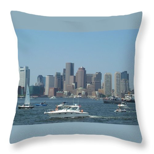 Boston Harbor Throw Pillow featuring the photograph Boston Harbor July Fourth by Barbara McDevitt