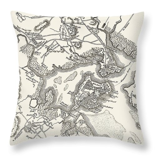 1775 Throw Pillow featuring the photograph Boston: Map, 1775-1776 by Granger