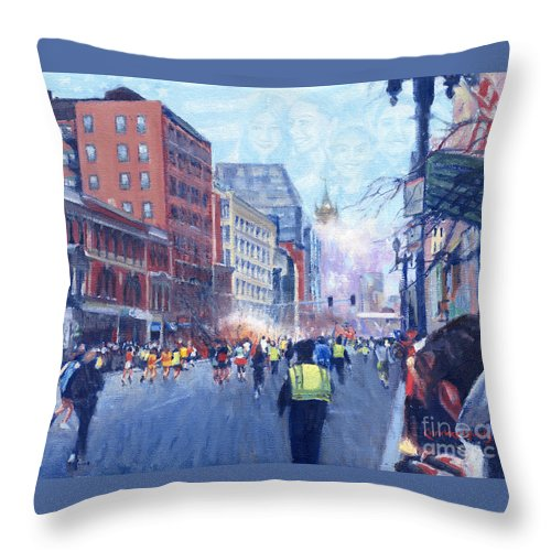 Boston Marathon Bomb Throw Pillow featuring the painting Boston Marathon Angels by Candace Lovely