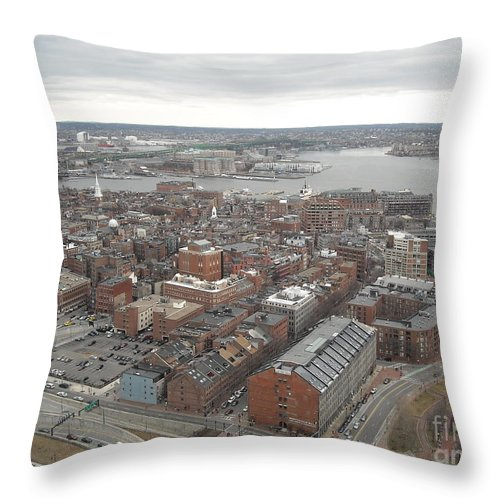 Aerial Shot Of The Northend Of Boston Throw Pillow featuring the photograph Boston by Michelle Welles