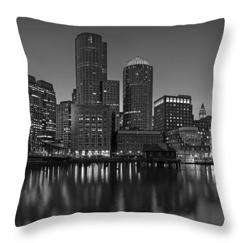 Boston Throw Pillow featuring the photograph Boston Skyline Seaport District Bw by Susan Candelario