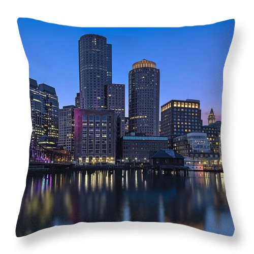 Boston Throw Pillow featuring the photograph Boston Skyline Seaport District by Susan Candelario