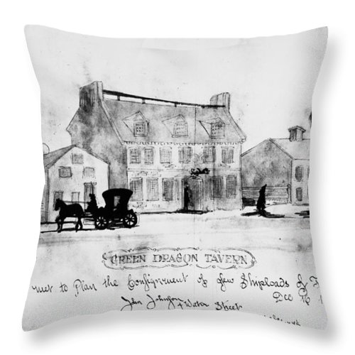 1773 Throw Pillow featuring the photograph Boston: Tavern, 1773 by Granger