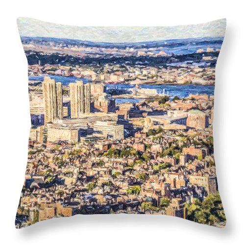 Boston Throw Pillow featuring the digital art Boston Usa Elevated View by Liz Leyden