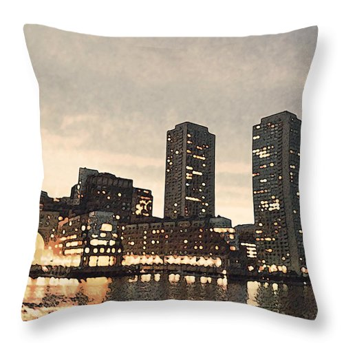Boston Throw Pillow featuring the photograph Boston Waterfront by Carol Sutherland