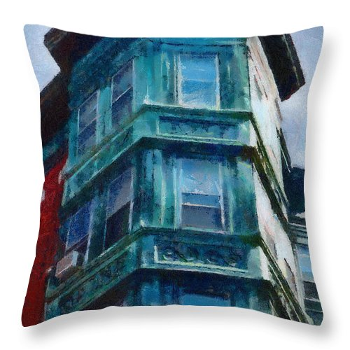 America Throw Pillow featuring the painting Boston's North End by Jeffrey Kolker