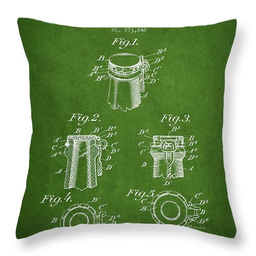 Bottle Cap Throw Pillow featuring the digital art Bottle Cap Fastener Patent Drawing From 1907 - Green by Aged Pixel
