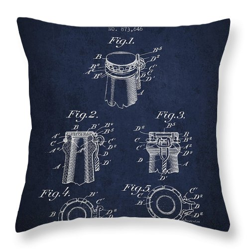 Bottle Cap Throw Pillow featuring the digital art Bottle Cap Fastener Patent Drawing From 1907 - Navy Blue by Aged Pixel